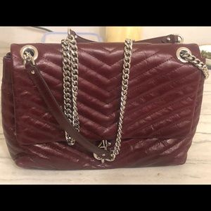 Rebecca minkhoff burgundy flap with silver chain